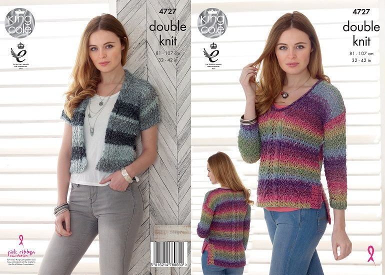 King Cole Shine Dk Cardigan And Sweater Knitting Pattern 4727