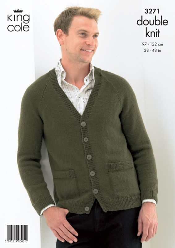 b87a2c279cf07 King Cole Sweater and Cardigan Mens Knitting Pattern 3271