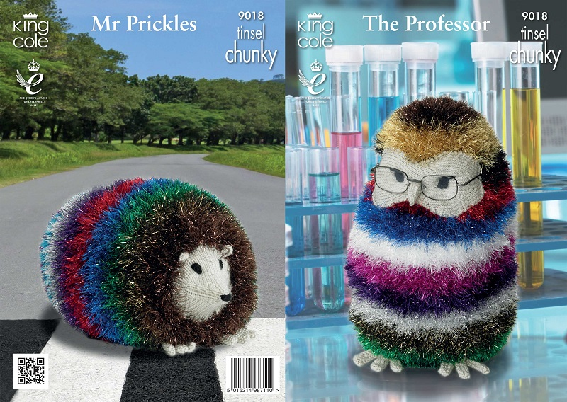 King Cole The Professor And Mr Prickles Tinsel Knitting Pattern 9018
