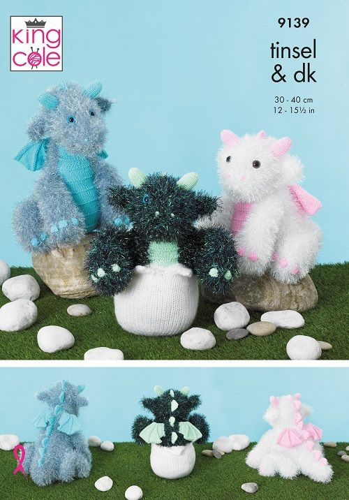 King Cole Tinsel Baby Dragons Knitting Pattern 9139