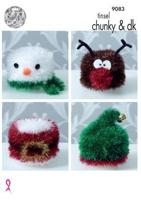85019cf5b4a63 King Cole Tinsel Christmas Toilet Roll Covers Knitting Pattern 9083 .