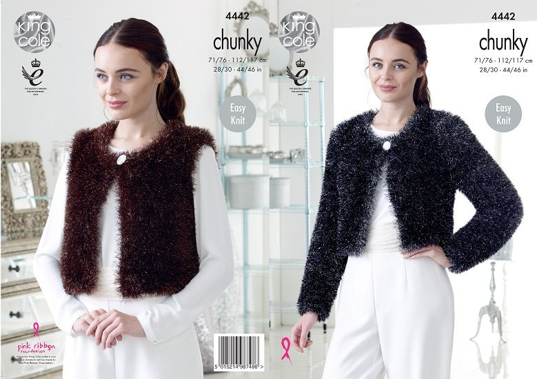 King Cole TINSEL Chunky Cardigans Knitting Pattern 4442