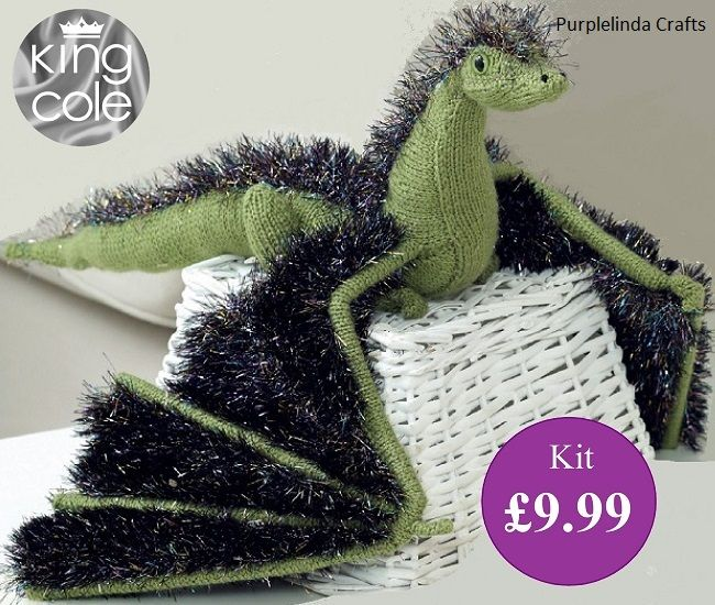 King Cole Tinsel Dragon Knitting Kit Verdurous