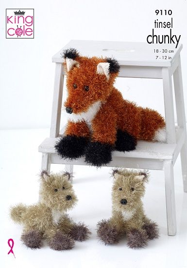 King Cole Tinsel FOX Knitting Pattern 9110