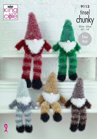 King Cole Tinsel GNOMES Knitting Pattern 9113
