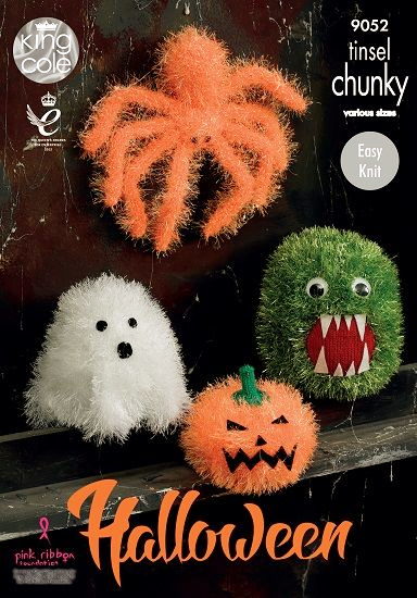 King Cole Tinsel Halloween MONSTERS Spider Ghost Pumpkin Knitting Pattern 9052