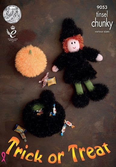 King Cole Tinsel Halloween WITCH Pumpkin Cauldron Knitting Pattern 9053