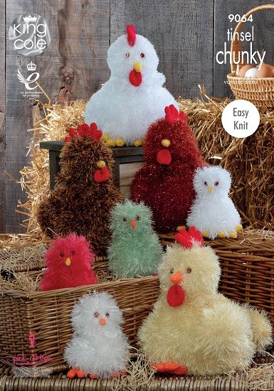 King Cole Tinsel Hens Chicks Knitting Pattern 9064