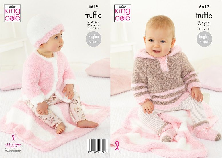 King Cole Truffle Blanket Cardigan Top Hat Socks Baby Knitting Pattern 5619