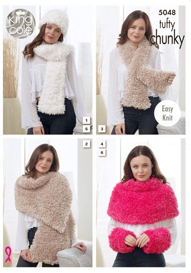 King Cole Tufty Accessories Knitting Pattern 5048