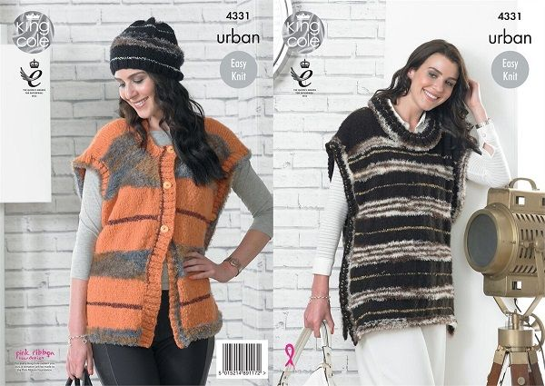 King Cole Urban Knitting Pattern Ladies Easy Knit Cap Sleeve Tabards /& Hat 4331