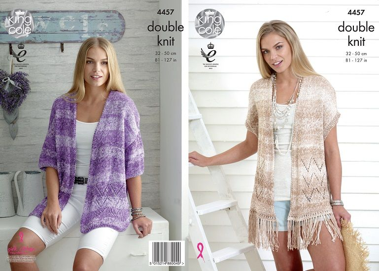 King Cole Vogue DK Ladies Cardigan Waistcoat Knitting Pattern 4457