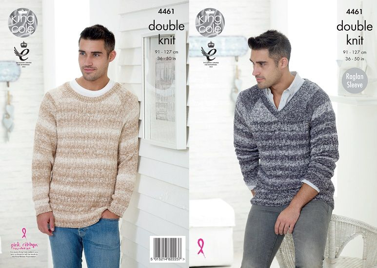 King Cole Vogue Dk Mens Sweaters Knitting Pattern 4461