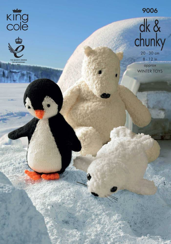 King Cole Winter Toys Knitting Pattern 9006 Penguin