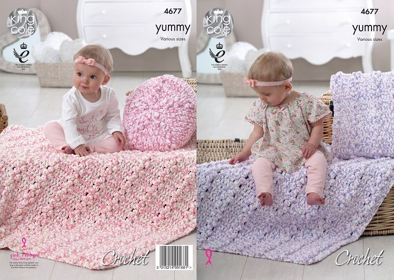 King Cole Yummy Crochet Cushions Blankets Pattern 4677