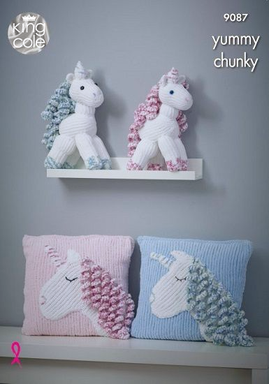 King Cole Yummy Unicorn Cushion Knitting Pattern 9087