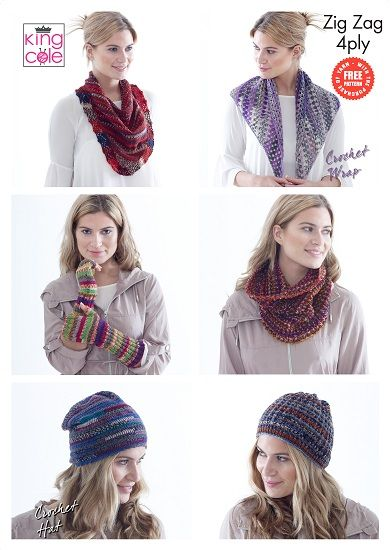 King Cole Zig Zag 4ply Accessories Knitting Crochet Pattern Free