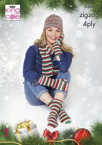 King Cole Zig Zag Hat Scarf Fingerless Gloves Socks Christmas Knitting Pattern 5545