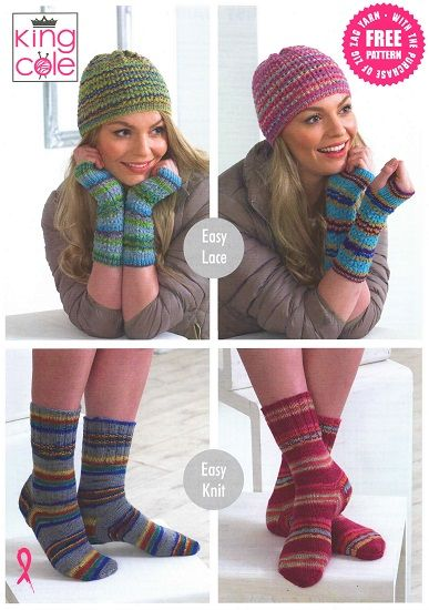 King Cole Zig Zag SOCKS Hat Wrist Warmers Knitting Pattern