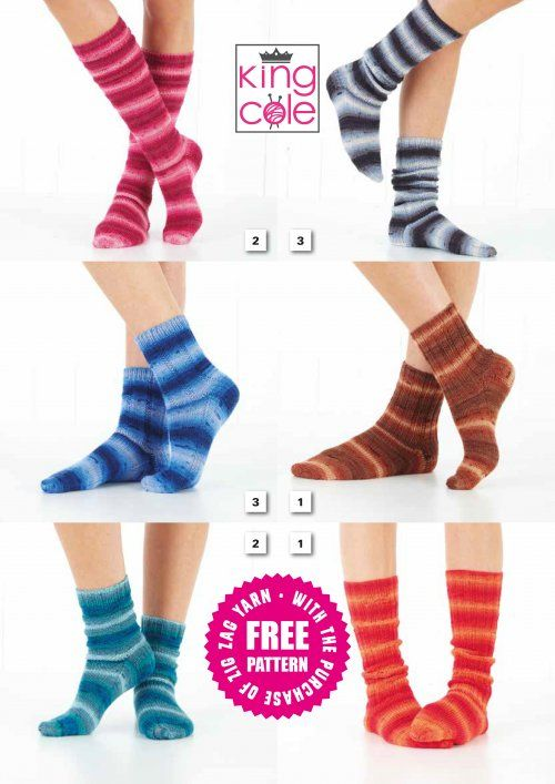 King Cole Zig Zag SOCKS Knitting Pattern FREE Autumn 2019