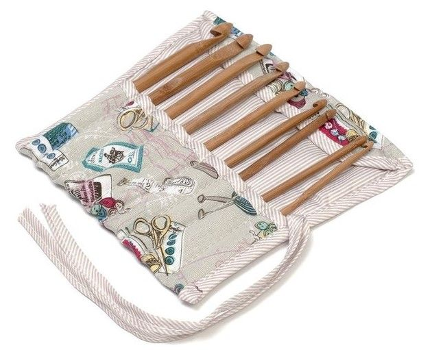 Notions Bamboo Crochet Hook Set Case Filled REDUCED