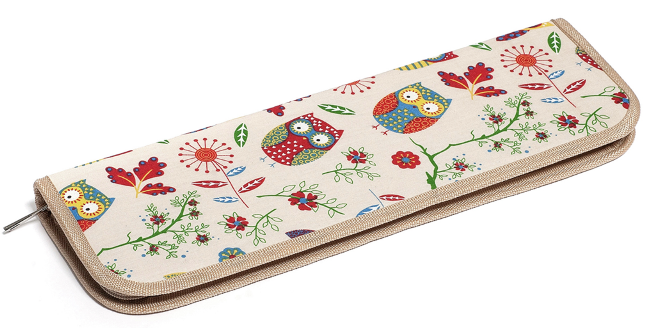 OWL Bamboo Knitting Needle Set - Knit Pin Zip Case (Filled)