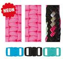 Paracord Bracelet Set Neon Pink Black