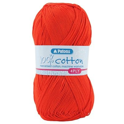 Patons 100% Cotton 4ply 1750 Tomato Red