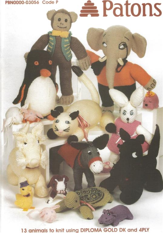 Patons 13 ANIMALS TO KNIT - Toys Knitting book 3056