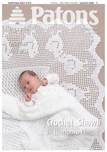 Patons 3ply Baby Crochet Shawl Pattern 3903 REDUCED £1