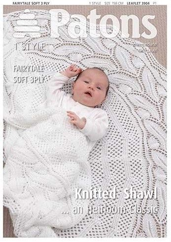 Patons 3ply Baby Knitted Shawl Pattern 3904