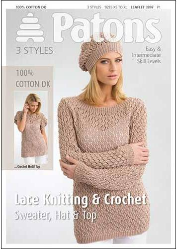 Patons Cotton DK Lace Knitting Crochet Pattern 3897