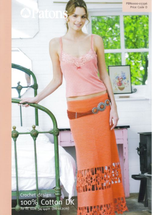 Patons DK Cotton Ladies Long Skirt Crochet Pattern 3396 CLEARANCE