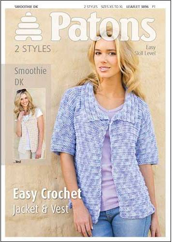 Patons Easy Crochet Jacket Vest Smoothie DK Crochet Pattern 3896 Only £1