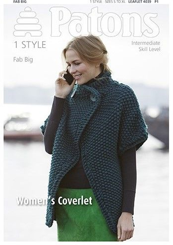 Patons Fab Big Coverlet Knitting Pattern 4039 £1
