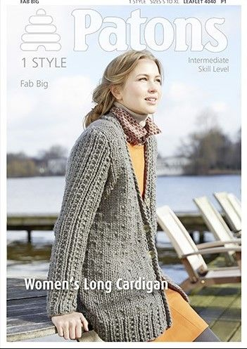 Patons Fab Big Long Cardigan Knitting Pattern 4040