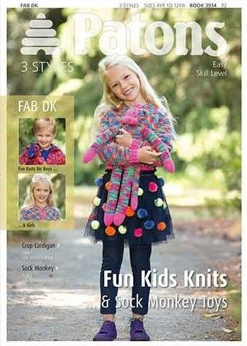 Patons Fab DK Fun Kids Knits and Sock Monkey Pattern 3934