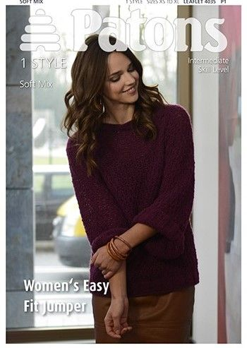 Patons Soft Mix Easy Fit Jumper Knitting Pattern 4035 Free