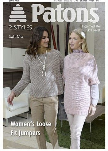 Patons Soft Mix Loose Fit Jumpers Knitting Pattern 4034 Reduced