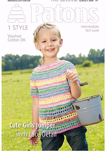 Patons Washed Cotton DK Cute Girl Jumper Knitting Pattern 3994 REDUCED