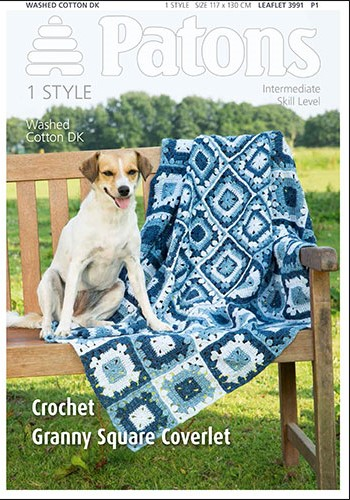 Patons Washed Cotton DK Granny Square Coverlet Pattern 3991 REDUCED