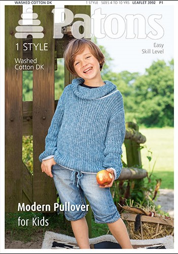 Patons Washed Cotton DK Modern Pullover for Kids Knitting Pattern 3992 REDUCED