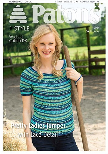 Patons Washed Cotton DK Pretty Ladies Jumper Knitting Pattern 3990.