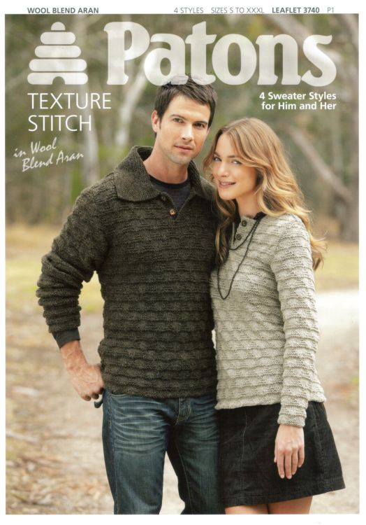 Patons Wool Blend Aran 4 Sweater For Him Her Knitting Pattern 3740