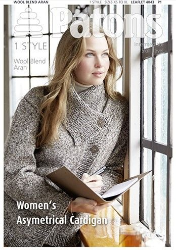 Patons Wool Blend Aran Asymetrical Cardigan Knitting Pattern 4043 £1