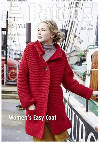 Patons Wool Blend Aran Easy Coat Knitting Pattern 4044