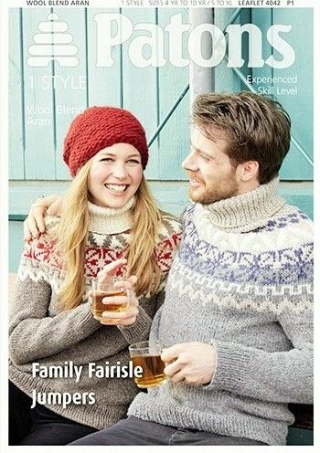 Patons Wool Blend Aran Family Fairisle Jumpers Knitting Pattern 4042