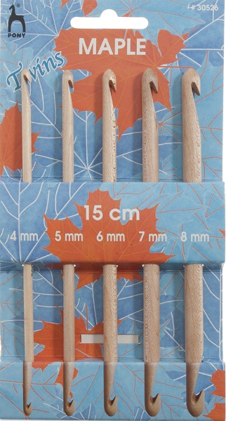 Pony Maple Double Ended Crochet Hook Set Wooden 30526