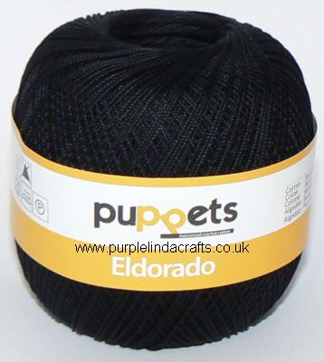 Puppets Eldorado No10 Crochet Cotton 4251 BLACK 50g