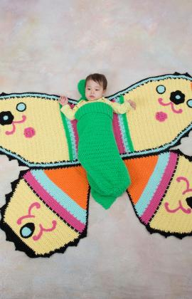 Red Heart ANNE GEDDES Butterfly Baby Blanket and